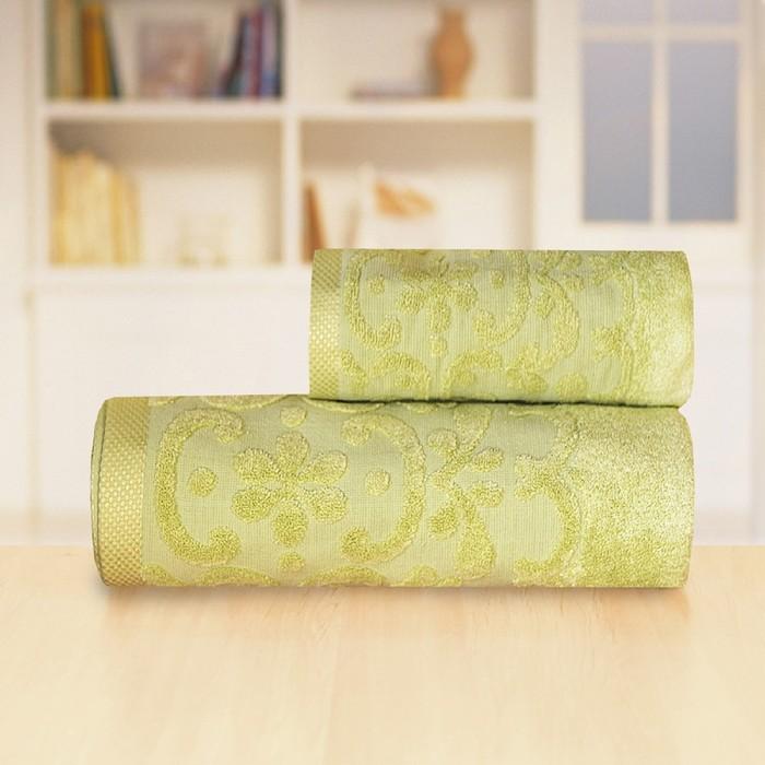 Полотенце «Бамбук жаккард», размер 70 х 140 см, цвет зелёный - фото 7929739