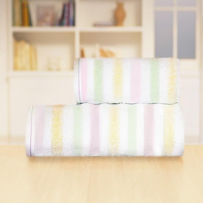 Полотенце «Радуга», размер 70 х 140 см, цвет розовый - фото 823617