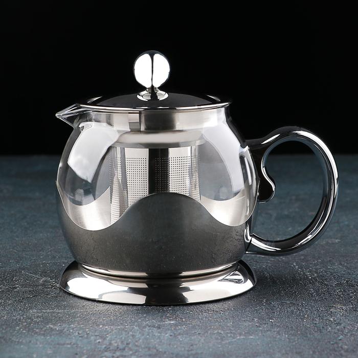 Чайник заварочный «Роскошь», с металлическим ситом, 800 мл, цвет металлик - фото 222917