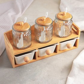 Набор банок для сыпучих продуктов «Эстет», 6 шт, 7,5×11/9,5×11,5×5 см, на деревянной подставке