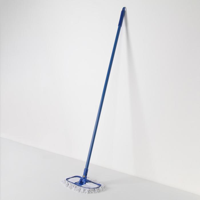 Швабра плоская Доляна, металлическая ручка 114 см, насадка х/б см 24×10,5 см