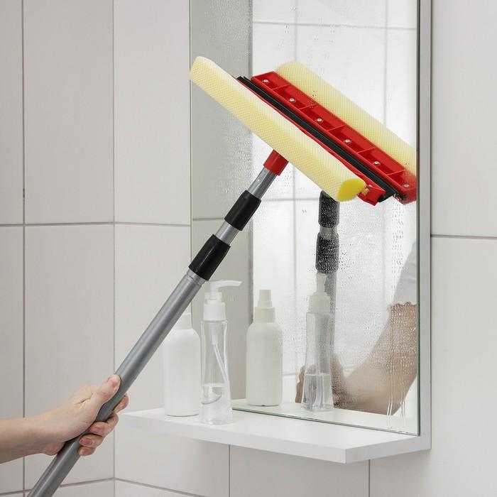 Окномойка с телескопической ручкой и сгоном Доляна, 30×109(255) см, поролон, цвет МИКС - фото 798478331