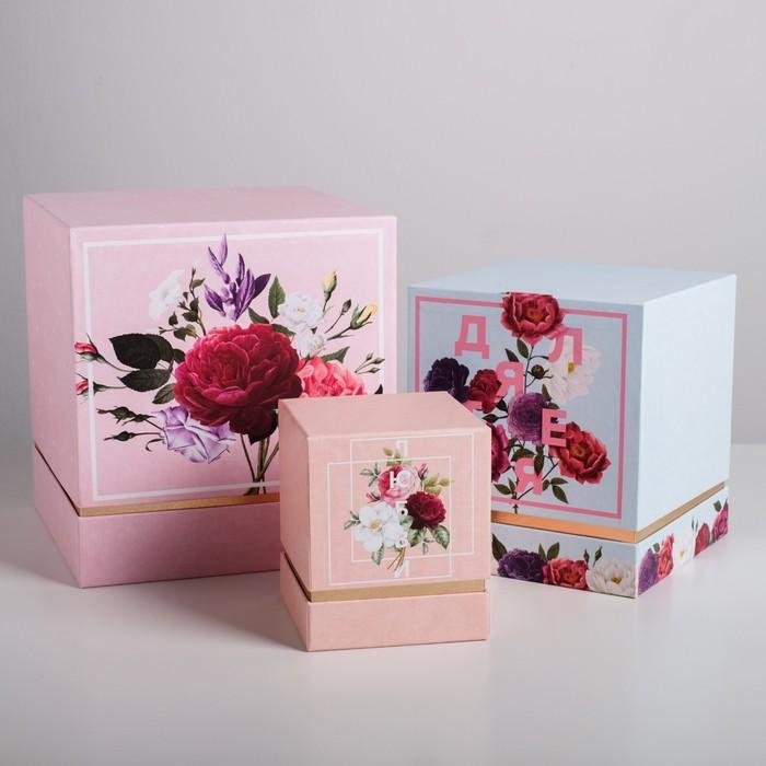 Набор подарочных коробок 3 в 1 «Цветочный», 11 × 9 × 9‒20 × 18 × 18 см - фото 798478474