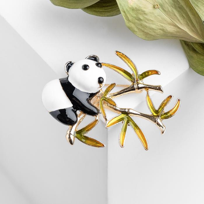 """Брошь """"Панда"""" с бамбуком, цветная в золоте - фото 798478827"""
