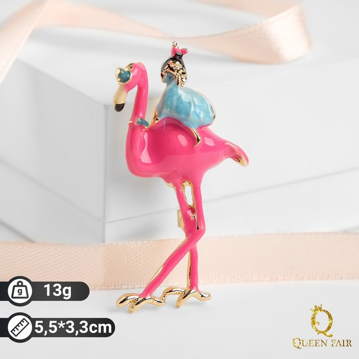 """Брошь """"Фламинго"""" с девочкой, цветная в золоте - фото 798478835"""