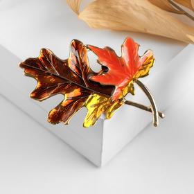 Brooch Leaves, autumn, color orange brown gold
