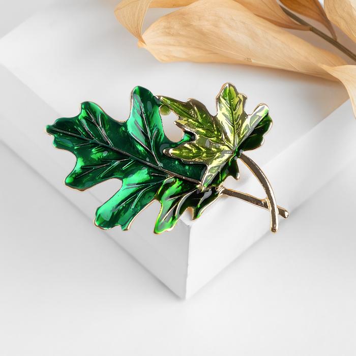 """Брошь """"Листья"""" осенние, цвет зелёный в золоте - фото 798478851"""