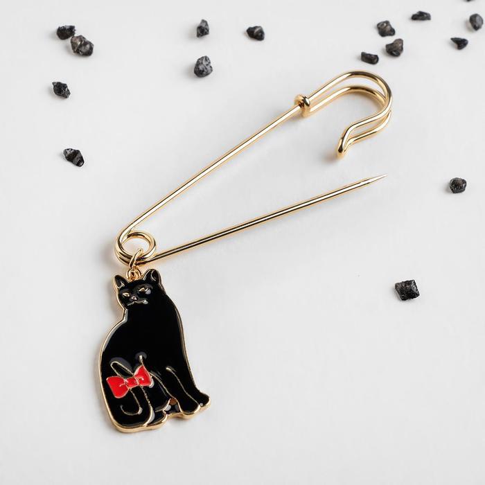 """Булавка """"Кошечка"""" с бантиком, 5см, цвет чёрный в золоте - фото 798478864"""
