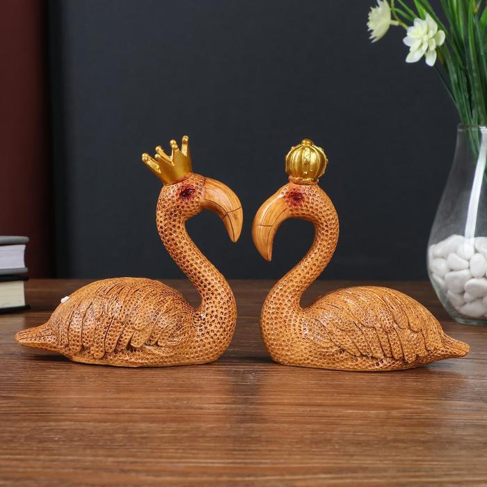 "Сувенир полистоун ""Фламинго в короне"" набор 2 шт под дерево 13х6,3х14 см - фото 798479038"