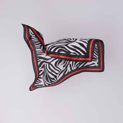 Scarf womens Zebra size 70*70 cm, color red-black
