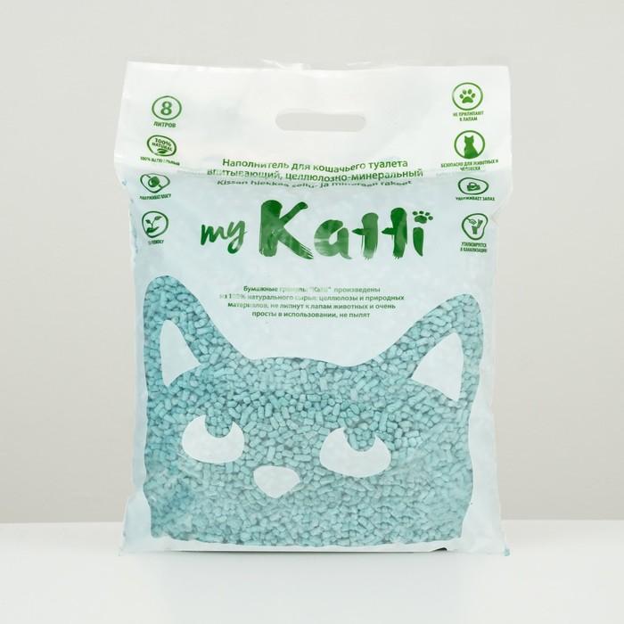 Целлюлозный наполнитель KATTI, с комплексом бактерицидных препаратов, 8л