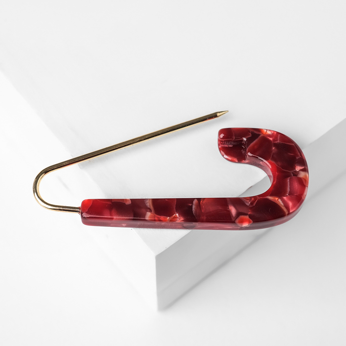 """Булавка пластик """"Круг мини"""" мрамор, 6см, цвет красный в золоте - фото 798479170"""