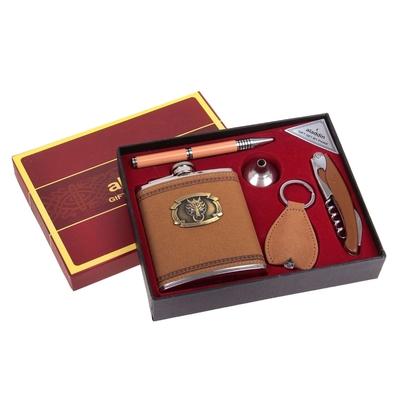 """Подарочный набор 5 в 1 """"Волк"""": фляжка 210 мл + воронка, ручка, брелок с фонариком, нож 3 в 1"""
