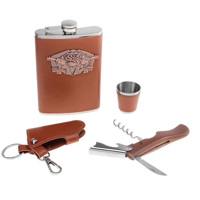 """Подарочный набор 4в1 """"Пистолеты"""": фляжка 270мл, рюмка, ключница, нож 3в1"""