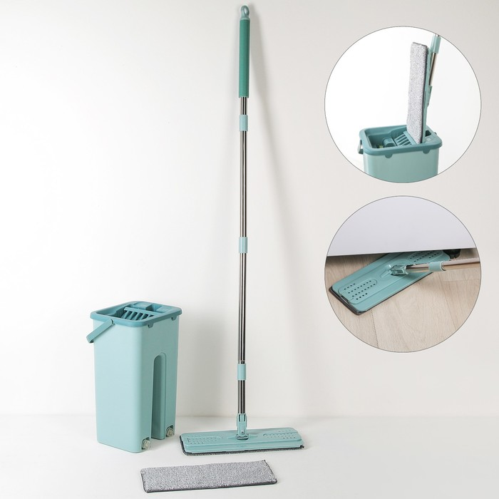 Набор для уборки: швабра плоская, ведро с 2 отсеками, доп.насадка