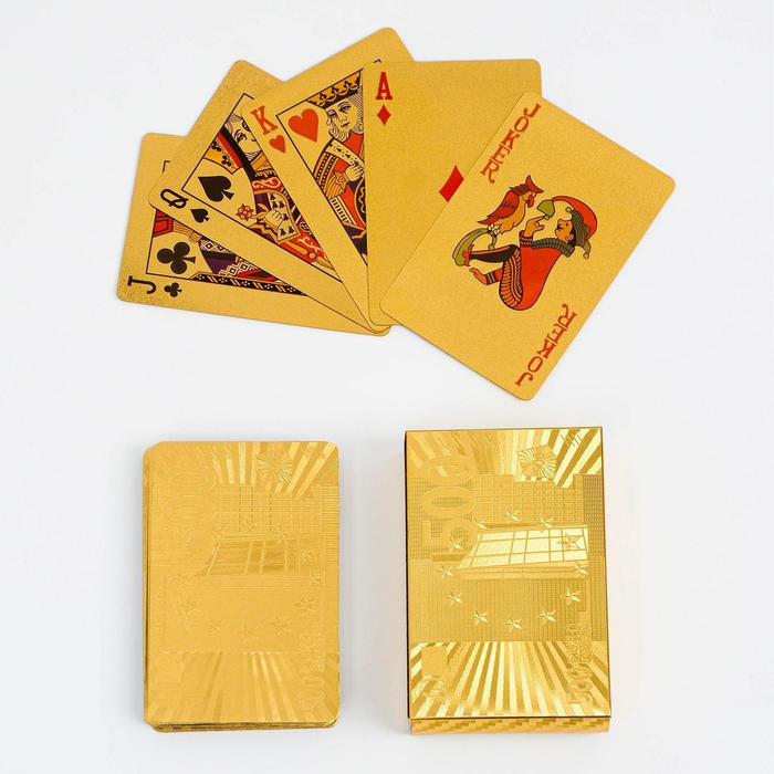 """Карты игральные пластиковые """"500 евро"""", 54 шт., 30 мкм, 8,8 × 5,7 см, золотистые"""
