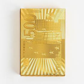 """Карты игральные пластиковые """"500 евро"""", 54 шт, 30 мкм, 8.8×5.7 см, золотистые"""