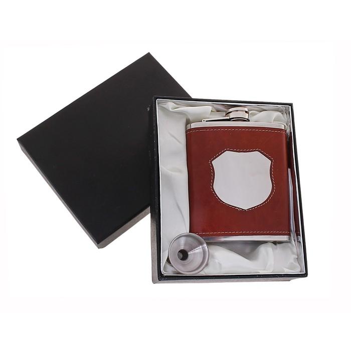 Набор подарочный 2в1: фляжка 210 мл, воронка, коричневая вставка под зеркало