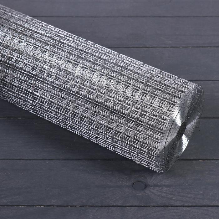 Сетка оцинкованная, сварная 1 × 10 м, ячейка 12,5 × 12,5 мм, d = 0,6 мм, метал