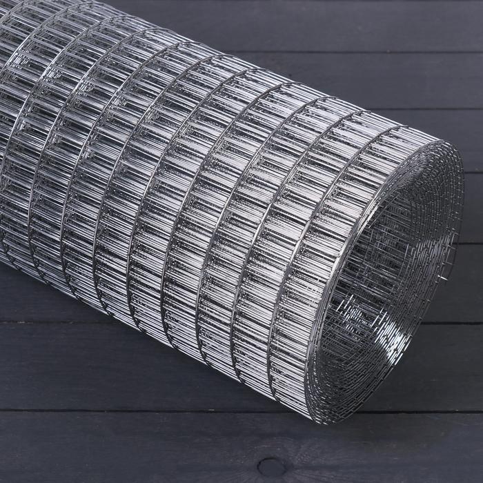 Сетка оцинкованная, сварная, 1 × 10 м, ячейка 25 × 12,5 мм, d = 1 мм, металл