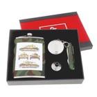 """Подарочный набор 4 в 1 """"Танк 821"""" : фляжка 240 мл + воронка, нож 7 в 1, стакан складной d=5 см"""