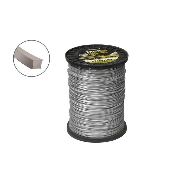 Леска для триммера Rezer 03.007.00003, с частицами алюминия, d=2 мм, 582 м, сечение квадрат   490899