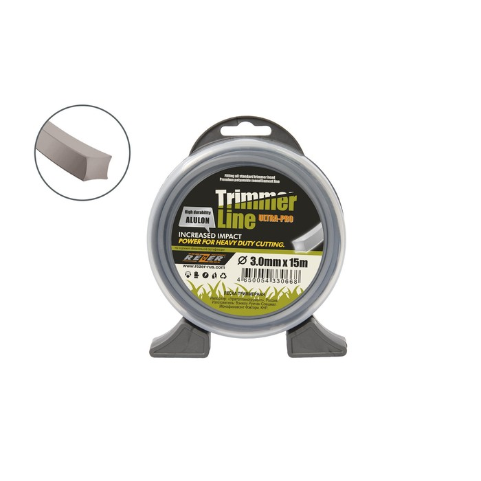 Леска для триммера Rezer 03.007.00007, с частицами алюминия, d=3 мм, 15 м, сечение квадрат