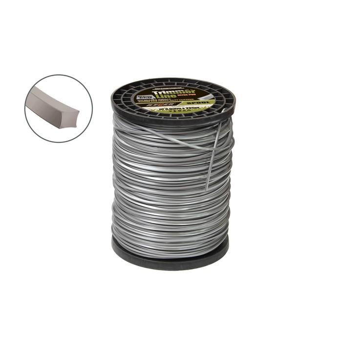 Леска для триммера Rezer 03.007.00008, с частицами алюминия, d=3 мм, 255 м, сечение квадрат   490899