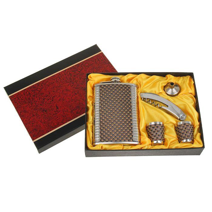 """Подарочный набор 5 в 1 """"Питон"""": фляжка 270 мл + 2 рюмки, воронка, нож с открывалкой"""
