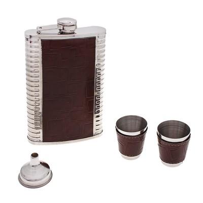 Набор подарочный 5в1: фляжка 270 мл, 2 рюмки, воронка, стакан складной 3 кольца, темные квадраты