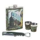 """Подарочный набор 5 в 1 """"Паровоз"""": фляжка 240 мл + 2 рюмки, воронка, нож 4 в 1"""