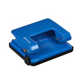 Дырокол металлический 20 листов, Attomex, форматная линейка, синий