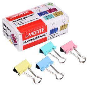 Зажимы для бумаг 25 мм, 12 штук, deVENTE, металлические, микс х 4 цвета, картонная коробка