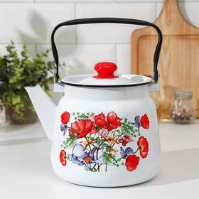 Чайник Сибирские товары «Цветы красные», 3,5 л, белый с кнопкой