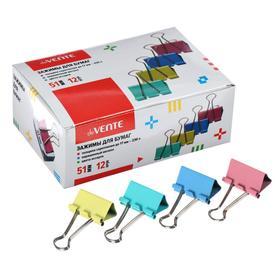 Зажимы для бумаг 51 мм, 12 штук, deVENTE, металлический, микс х 4 цвета, картонная коробка