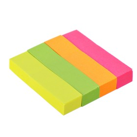 Закладки с клеевым краем (стикеры), бумажные 12 х 50 мм, 4 цвета х 80 листов, Attomex Neon *