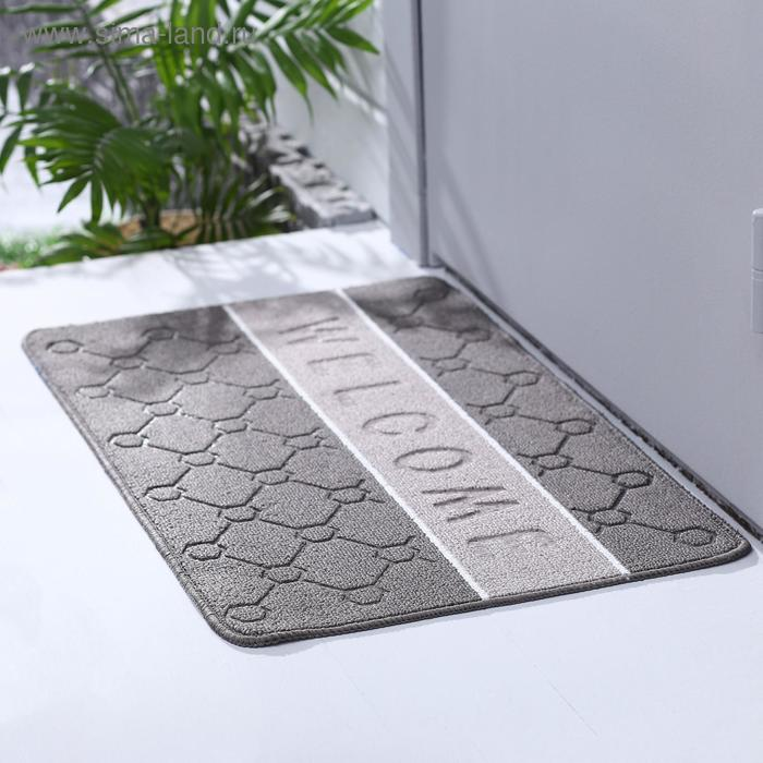 "The Mat for doorway 48х78 cm ""Welcome malakula"" color grey"