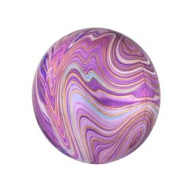 """Шар фольгированный 15"""" 3D-сфера, мрамор, цвет фуксии"""
