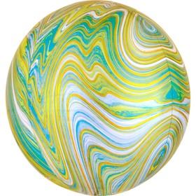 """Шар фольгированный 15"""" 3D-сфера, мрамор, цвет мятный"""