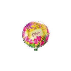 """Шар фольгированный 18"""" «8 Марта», тюльпаны и мимозы"""