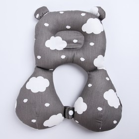 Подушка детская ортопедическая «Облака», на сером