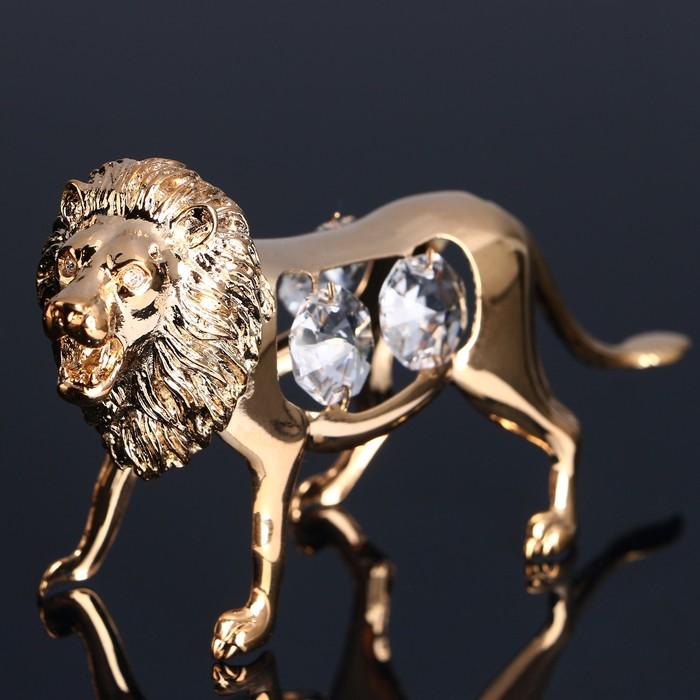 Сувенир «Лев», 11х3х6см, с кристаллами Сваровски