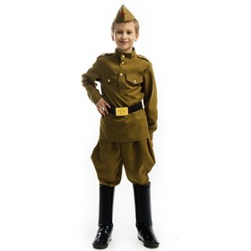 Карнавальный костюм «Солдат», гимнастёрка, брюки, пилотка, ремень, р. 34, рост 134 см