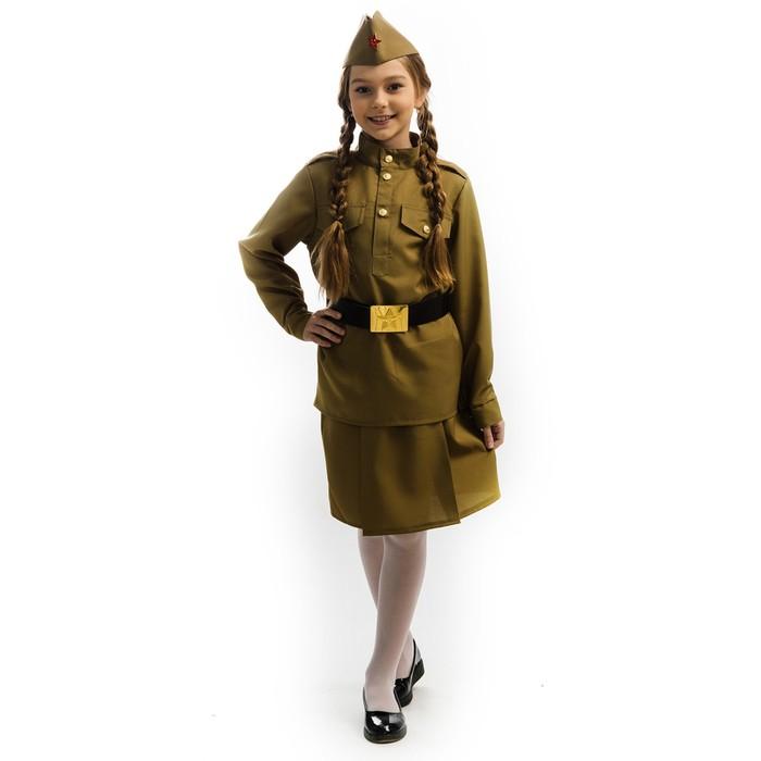 Карнавальный костюм «Солдатка», гимнастёрка, юбка, пилотка, ремень, р. 30, рост 122 см - фото 105522420
