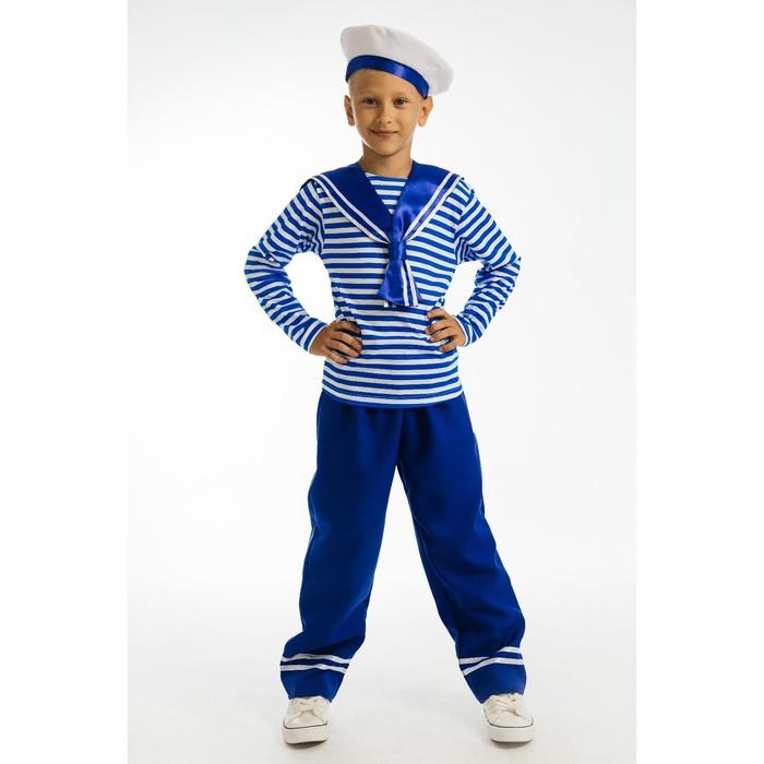 Карнавальный костюм «Юнга», гюйс, тельняшка, штаны, берет, р. 30, рост 122 см - фото 105522422