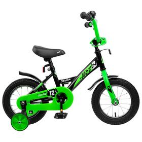 """Велосипед 12"""" Novatrack Strike, 2020, цвет чёрный/зелёный"""