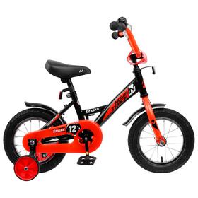 """Велосипед 12"""" Novatrack Strike, 2020, цвет чёрный-красный"""