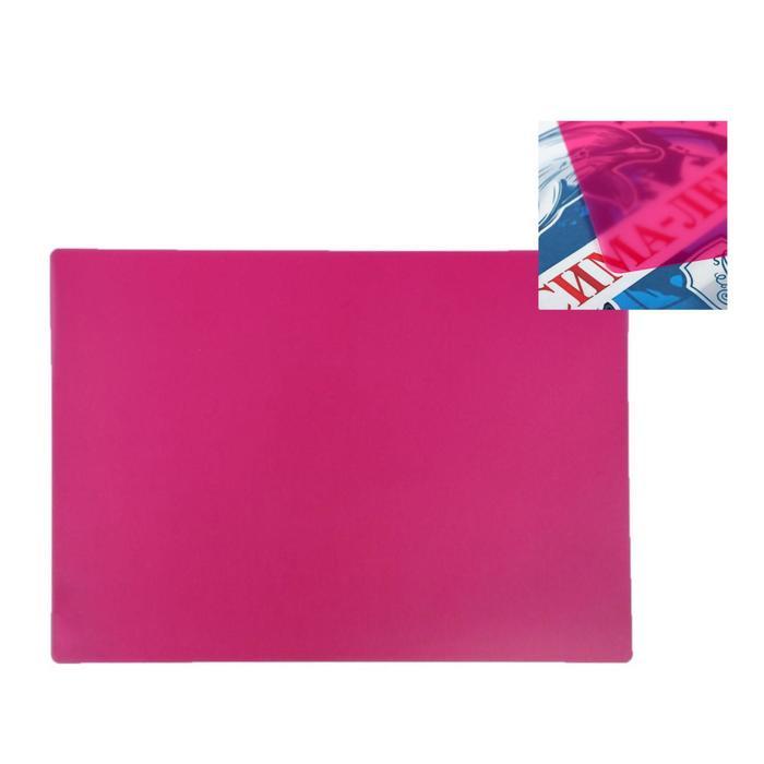 Накладка на стол пластиковая, А3, 460 х 330 мм, 500 мкм, прозрачная, цвет розовый (подходит для ОФИСА)