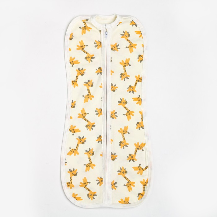 Пеленка-кокон на молнии, жирафики, рост 68, интерлок