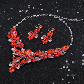 "Set of 2 pieces: earrings, necklaces ""Magic age,"" the flowers of Primula, color red-white gold"